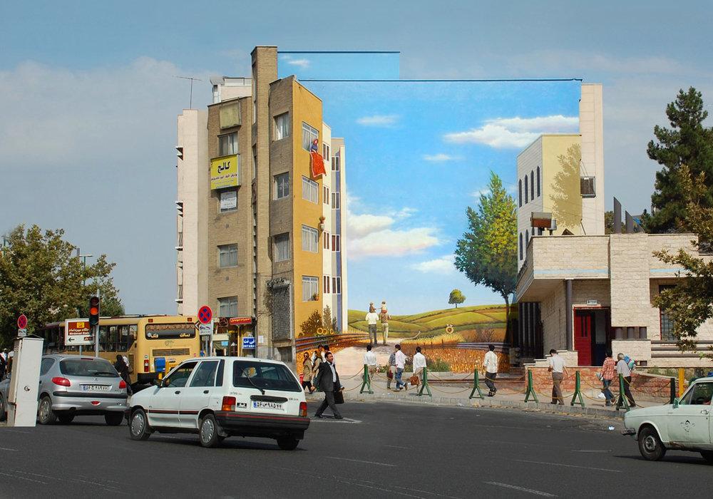 Mehdi Ghadyanloo, Utopian Tehran Project, public murals, Tehran