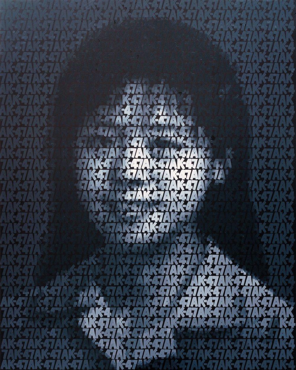 Zhang Dali, olio su tela, serie AK-47