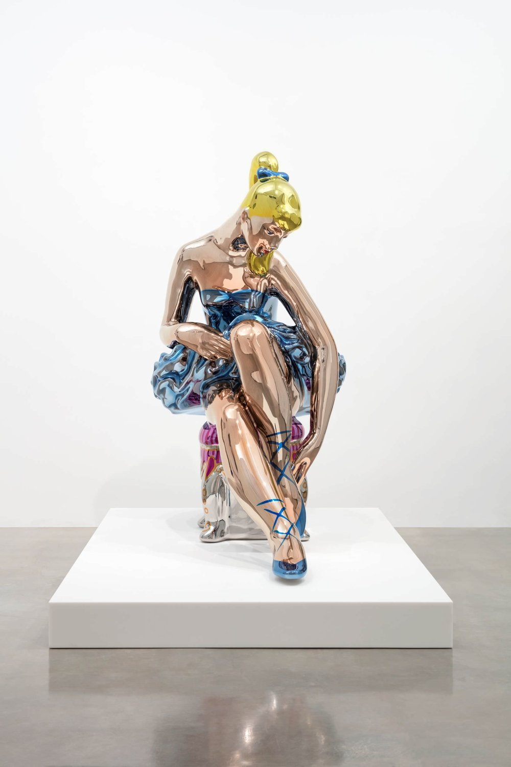 Jeff Koons (b. 1955); Seated Ballerina; 2010–15; Mirror-polished stainless steel with transparent colour coating; 210.8 x 113.5 x 199.8 cm; Artist's proof of an edition of 3 plus AP; Collection of the artist © Jeff Koons. Photo: Fredrik Nilsen, 2017. Courtesy Gagosian