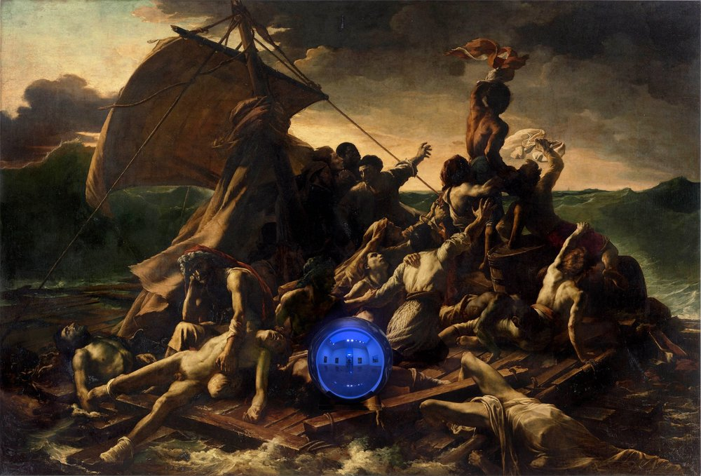 Jeff Koons (b. 1955); Gazing Ball (Gericault Raft of the Medusa); 2014–15; Oil on canvas, glass, and aluminium; 175.9 x 259.1 x 37.5 cm; Collection of the artist © Jeff Koons. Photo: Tom Powel Imaging. Courtesy Gagosian