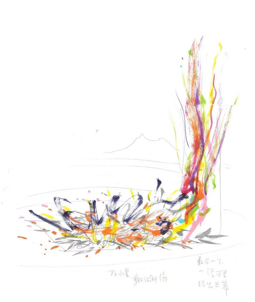cai guo qiang, sketch for pompeii (2018); image courtesy of cai studio