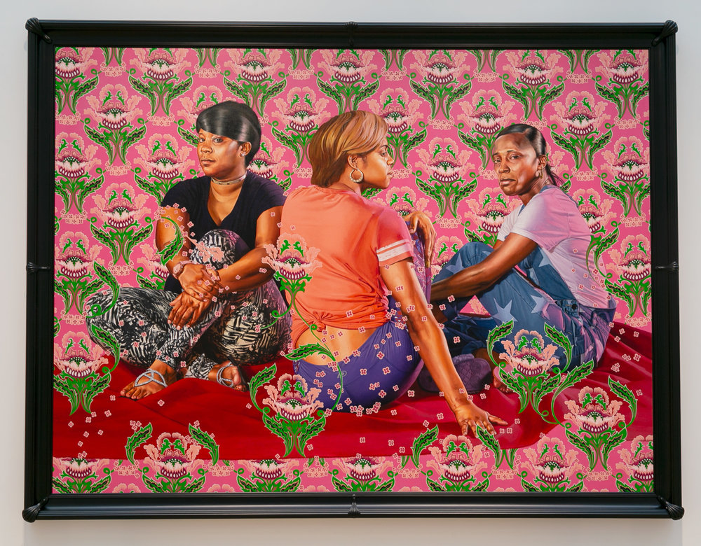 "Kehinde Wiley, ""Three Girls in a Wood"" (2018), oil on linen, image: 108 × 144 inches, framed: 119 in. × 155 inches, Saint Louis Art Museum"