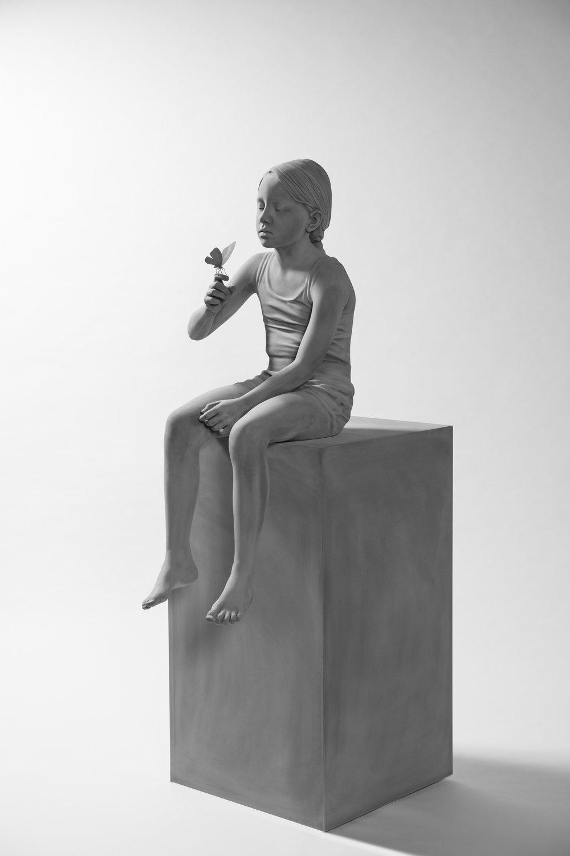 Hans Op de Beeck, Tatiana (Butterfly), sculpture, 2017. Polyester, wood, polyamide