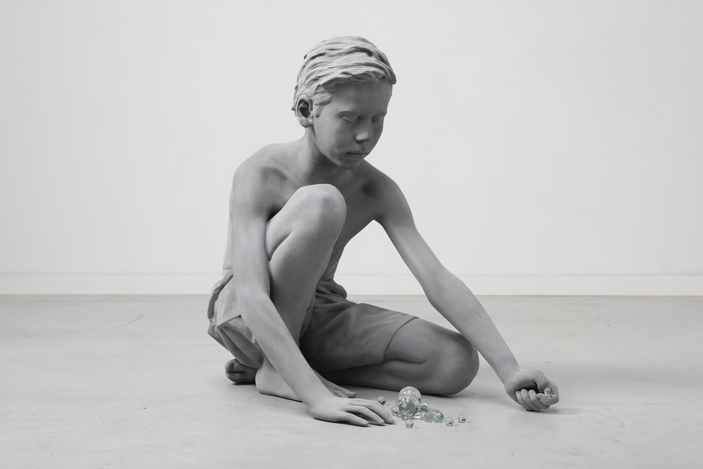 """Hans Op de Beeck, """"Timo (Marbles)"""" (2018), Polyester, Glass, Coating"""