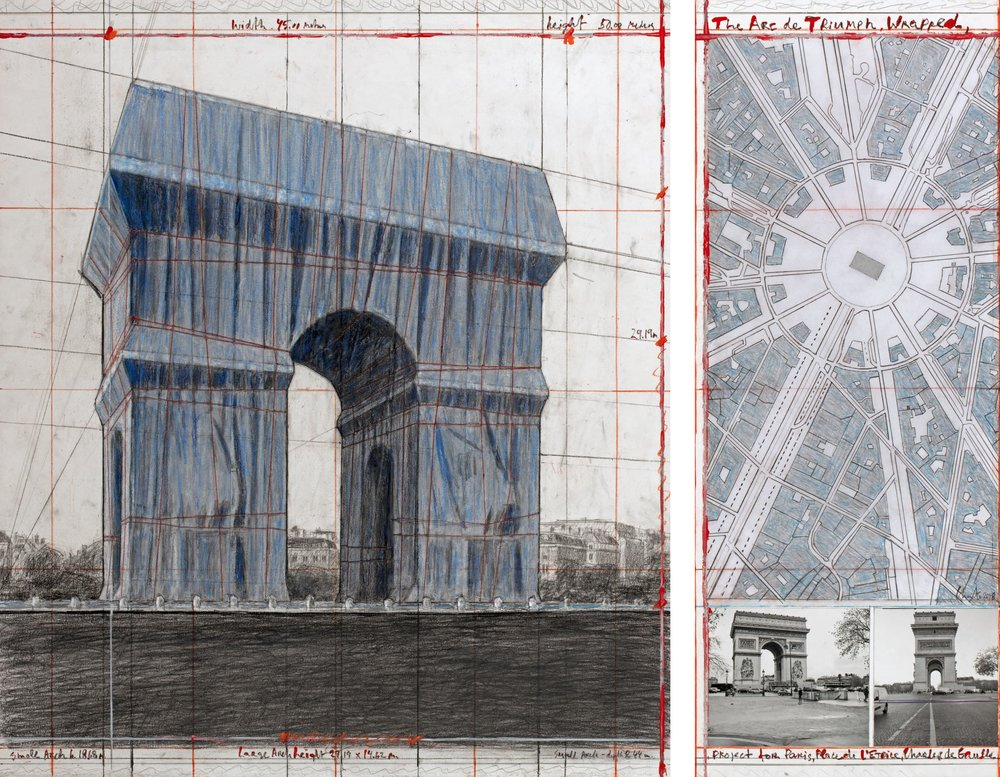 """Christo, The Arc de Triumph, Wrapped, Project for Paris, Place de l'Etoile, Charles de Gaulle, Collage 2018 in two parts 30 1/2 x 26 1/4"""" and 30 1/2 x 12"""" (77.5 x 66.7 cm and 77.5 x 30.5 cm) Pencil, charcoal, wax crayon, fabric, twine, enamel paint, photograph by Wolfgang Volz, hand-drawn map and tape Photo: André Grossmann © 2018 Christo"""
