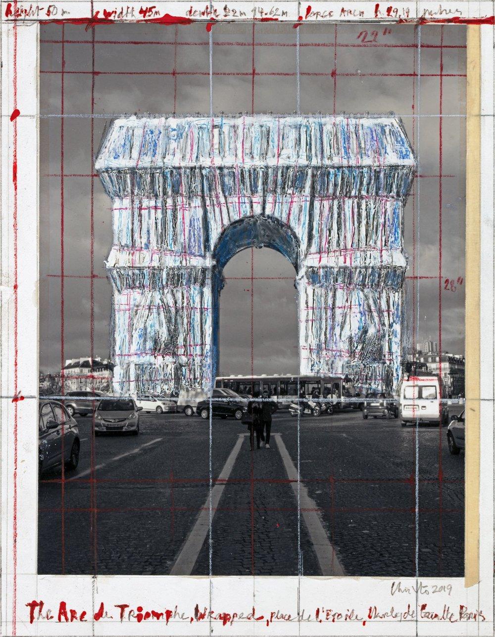"""Christo, The Arc de Triomphe, Wrapped, Place de l'Etoile, Charles de Gaulle, Paris, Collage 2019, 11 x 8 1/2"""" (28 x 21.5 cm), Pencil, wax crayon, enamel paint, photograph by Wolfgang Volz and tape, Photo: André Grossmann © 2019 Christo"""