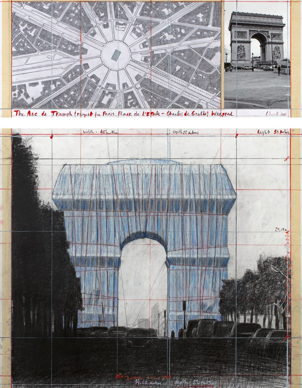 """Christo, The Arc de Triumph (Project for Paris, Place de l'Etoile – Charles de Gaulle) Wrapped. Collage 2018 in two parts 12 x 30 1/2"""" and 26 1/4 x 30 1/2"""" (30.5 x 77.5 cm and 66.7 x 77.5 cm) Pencil, charcoal, wax crayon, fabric, twine, enamel paint, photograph by Wolfgang Volz, hand-drawn map and tape. Photo: André Grossmann © 2018 Christo"""