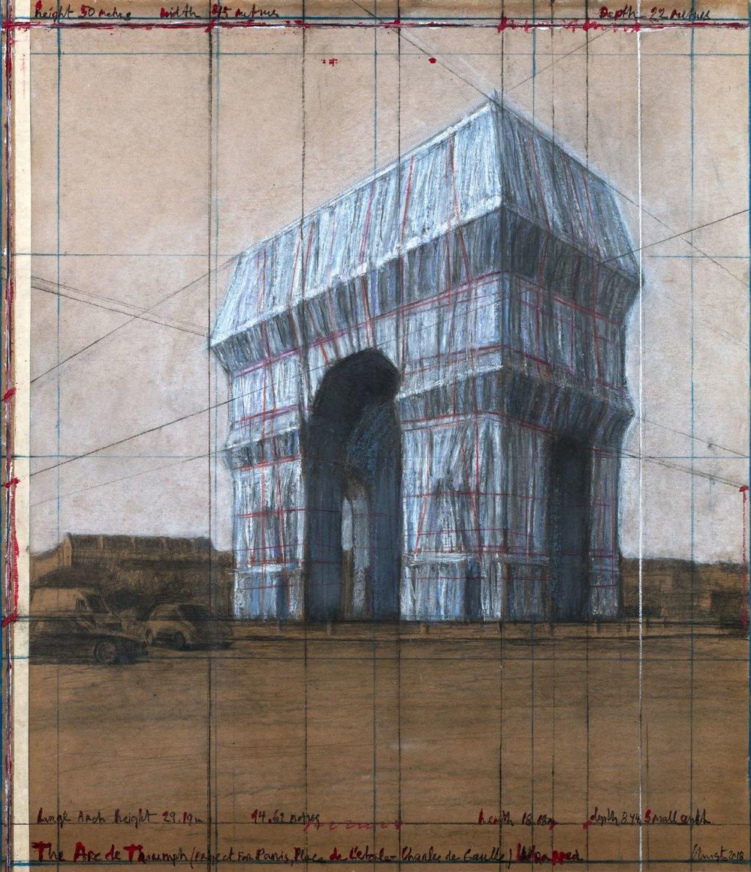 """Christo, The Arc de Triumph (Project for Paris, Place de l'Etoile – Charles de Gaulle) Wrapped. Drawing 2018, 30 1/2 x 26 1/4"""" (77.5 x 66.7 cm). Pencil, charcoal, pastel, wax crayon, enamel paint and tape on brown board. Photo: André Grossmann © 2018 Christo"""