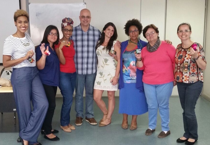 Fernando Gameleira, Centro's Representative in Brazil and some of the small business entrepreneurs he has trained in Rio de Janeiro.