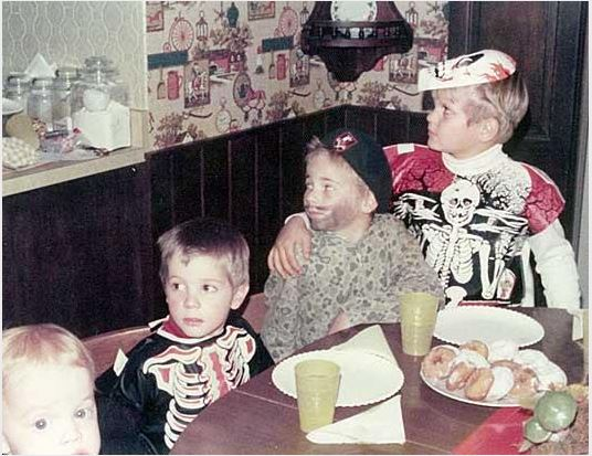Peter with his arm around his adopted brother Perry. Peter is dressed as a skeleton (far right). Courtesy: ABC News