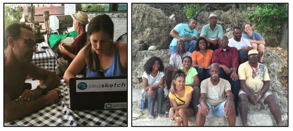 (Left) Bess Ruff conducts an Ocean Use Survey. (Right) Group Photo at a fishers meeting.