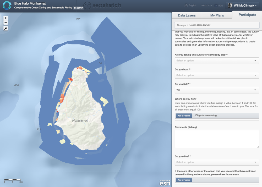 An example SeaSketch Survey used in Montserrat.