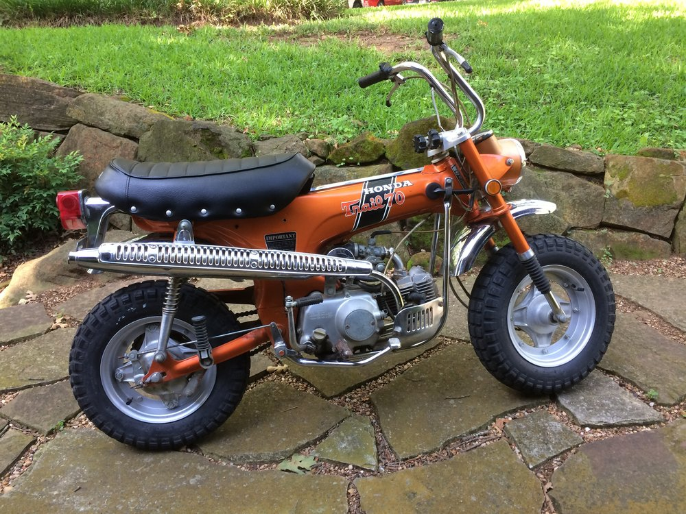 A 1971 Honda CT70-H 4 speed in mostly original condition. I did a seat cover, new light bucket, rebuilt the brakes, and re-plated most of the hardware.