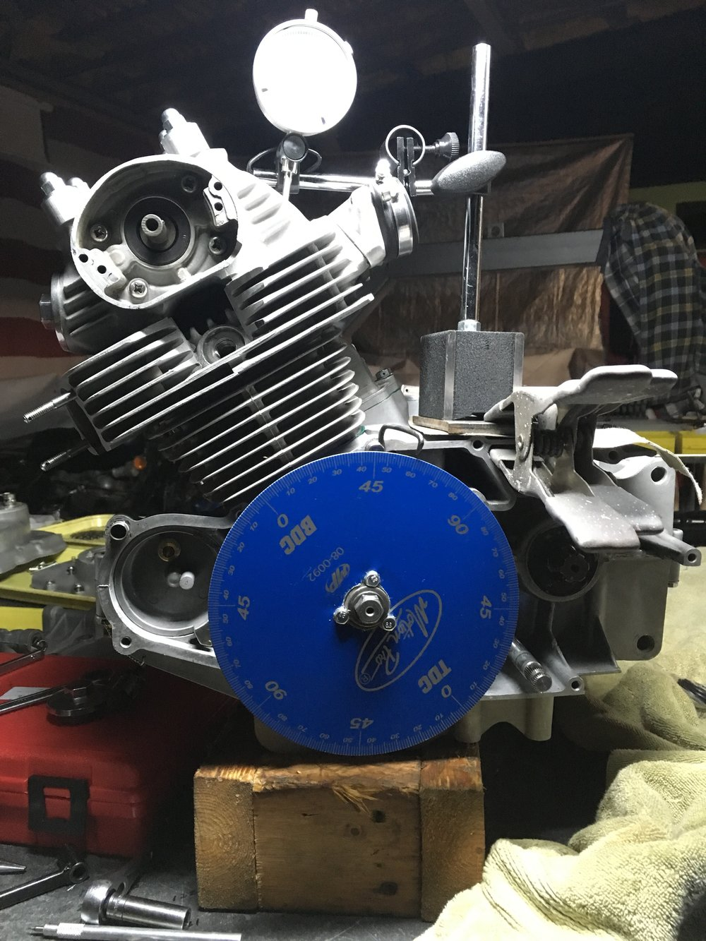 Third time this engine has been out of the bike, one last check of the cam degree, and it is ready for full assembly. Thanks to Tucker Rocky and Motion Pro for the degree wheel and throttle on the bike.