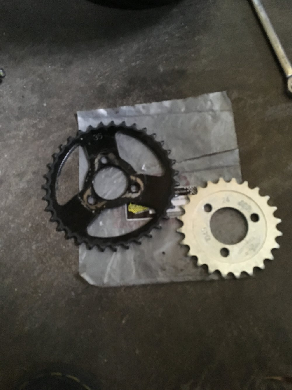 Trading out the 35T for a 24T rear sprocket. Some off the line acceleration will be lost, but these bikes get to top speed in a short distance, so I'm thinking top speed will be the determining factor.