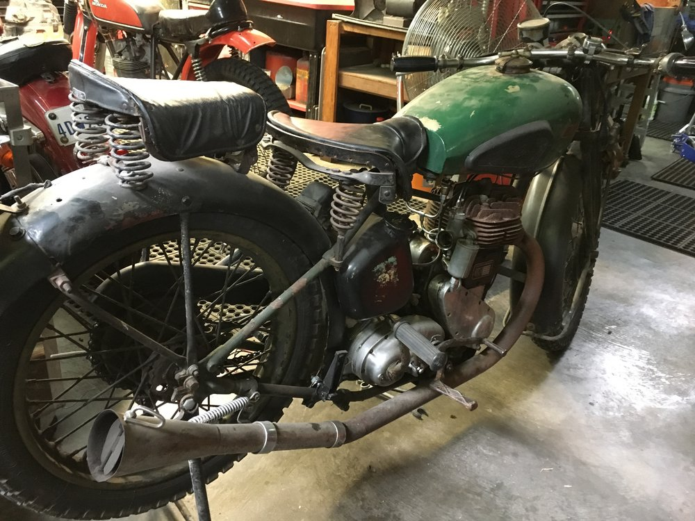 Loving the patina on this 1948 BSA M20. Just doing some general maintenance on the gas and electrical systems, and adding a tail light. The Snuff-or-Not exhaust damper doubles as a mouse nest barrier.