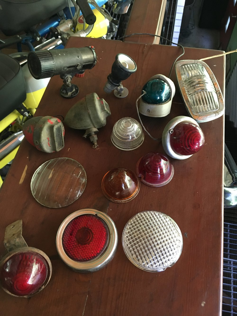 In other happenings, a lot of vintage tail and other type light came in. Pictured are some of the glass lens ones that got cleaned up a little. A few are US navy and other aircraft, with car and motorcycle units making up the bulk of the collection. A guy who looked to be somewhere near 70 told me they were collected by his Daddy.