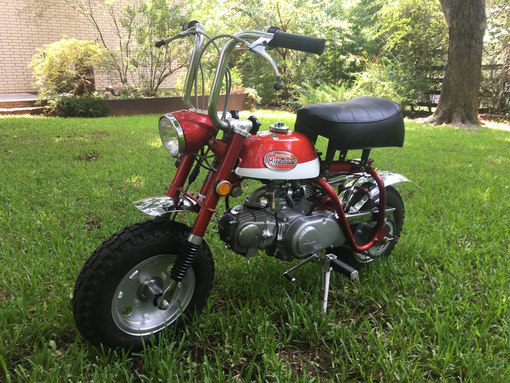 This 1971 Z50A has been getting ready to go to a new home. The bike underwent some basic restoration years ago when first purchased on the wheels, forks,  tires, handlebars, cables, and seat, but the engine had not been touched and was a smoker. Honda really knew how to spark the love of riding in kids. The first time seeing one of these as a child was unforgettable.