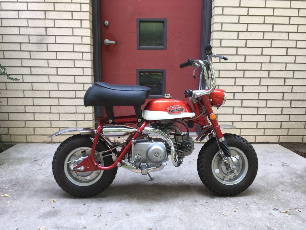 After an engine rebuild and sympathetic restoration of the tank were done to prep the bike for sale. The original muffler was opened a little internally and a new stinger inserted in the end of the muffler. At full throttle it is quite loud.