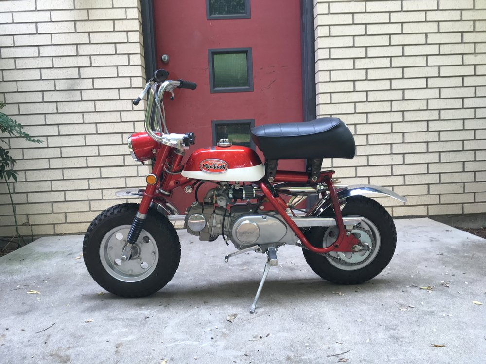 The50cc engine was converted to an 88cc, with a race head and cam, heavy duty clutch, high volume oil pump, and a 20mm carb and intake set-up. A 15 tooth front sprocket replaced the 13 tooth one to take advantage of the added torque.