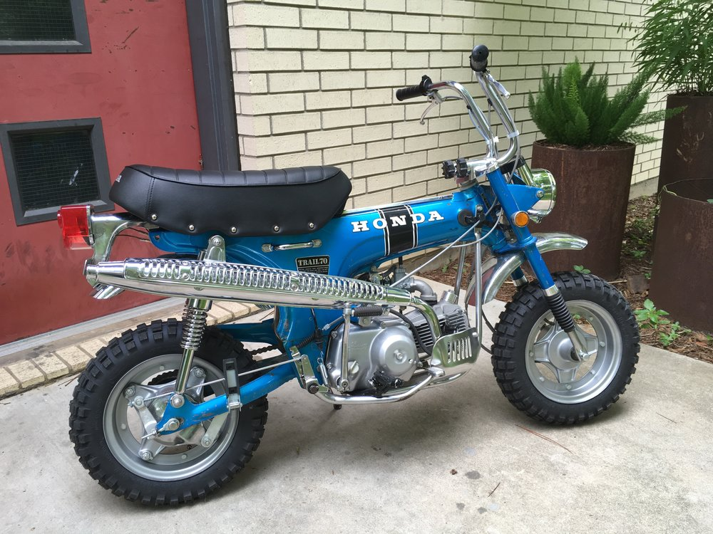 And finally, this 1971 CT70 custom with 108cc engine will be at the sale. Tons of new parts, but original paint and chrome.