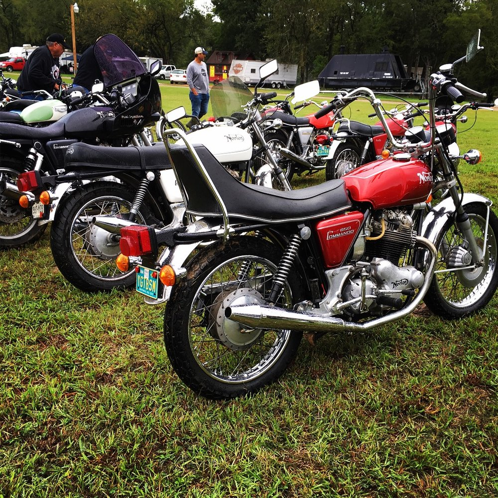 It has been super busy around the shop. Between trying to get finished repairs out the door, re-organizing portions of the shop, and three major builds, there has been little time for play. October is bike month around here. The Barber Vintage Motorcycle meet before this event and the Harvest Classic Rally in Luckebach, Texas the following week were passed over because of the pace around the shop, but I had to make this one. I missed all shows last year because of a heavy workload, and vowed to make at least one this year. Despite almost constant rain, waterlogged muddy fields, and having to get my van towed out of a ditch, I would gladly do it again. Above, a rare Norton High-Rider model, one of the many stunning bikes in a sea of British, German, American, Italian, and Japanese examples. Even though this is the Norton Club, all models are welcome.