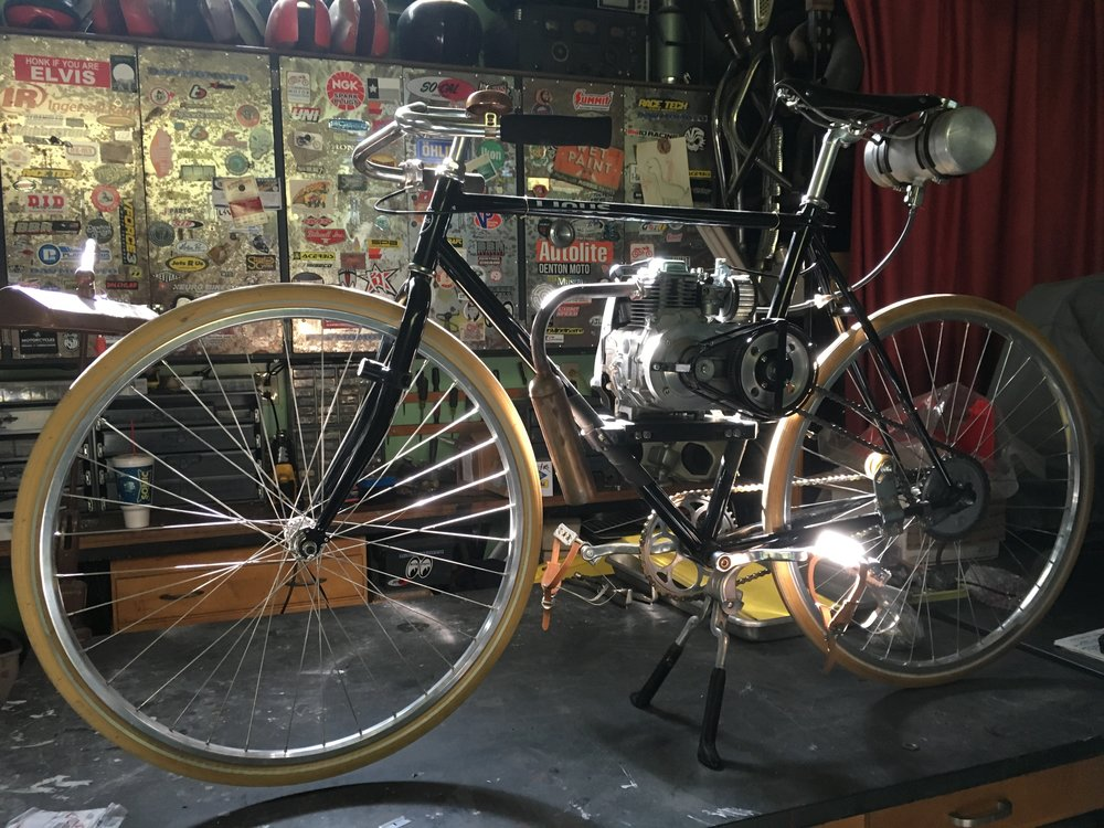 This Linus motorized bicycle and the BSA M20 above are going to be heading home soon. It looks great sitting there and is a blast to ride, but I can use the space back in the shop.
