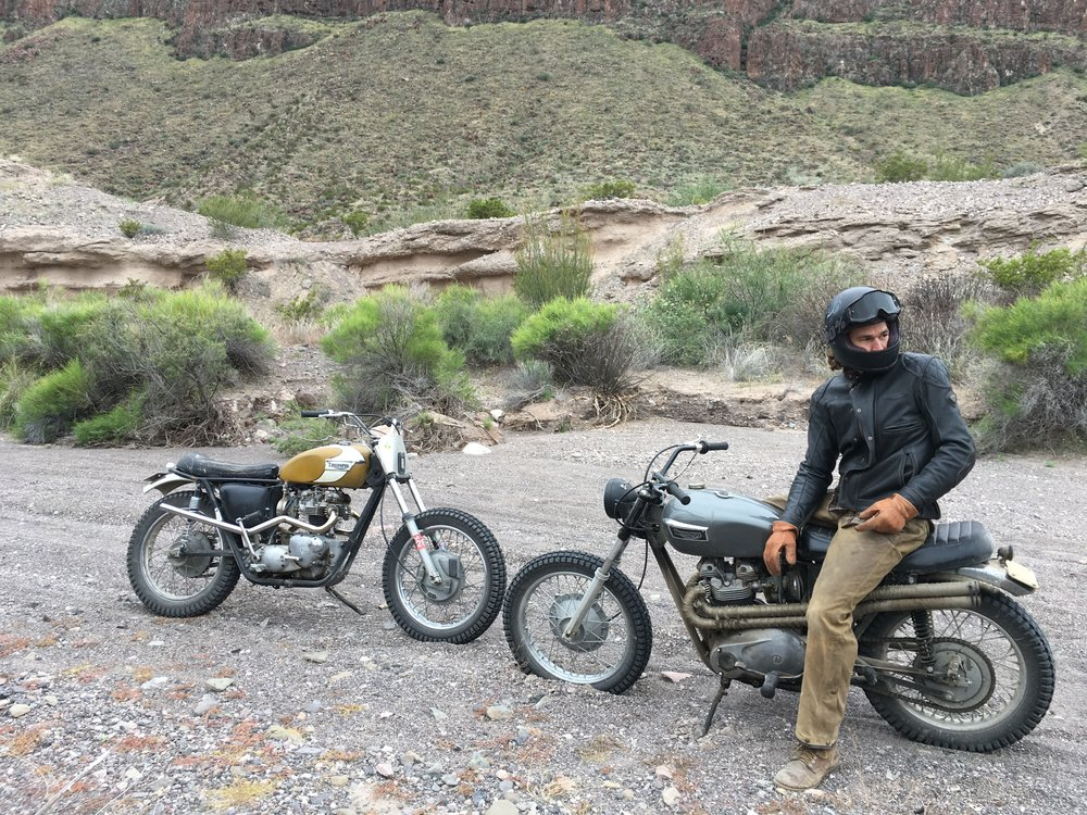 On a particularly deep sand and gravel wash, where riding was akin to being on ice. That's Jake on Frank, ready to ride.