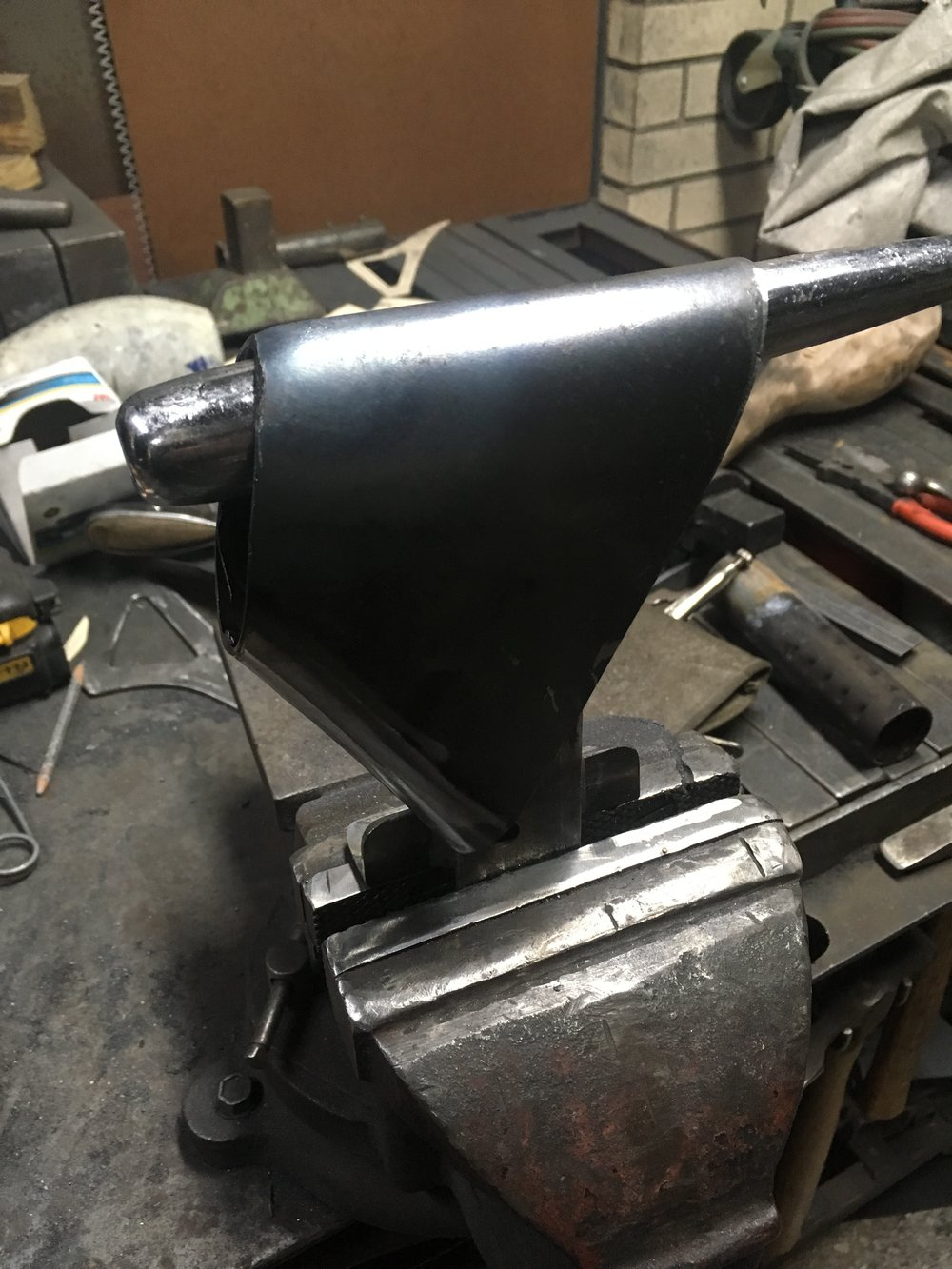 While working on the exhaust tails, it occurred to me this is how cowbells are made. The exhaust now has more cowbell.