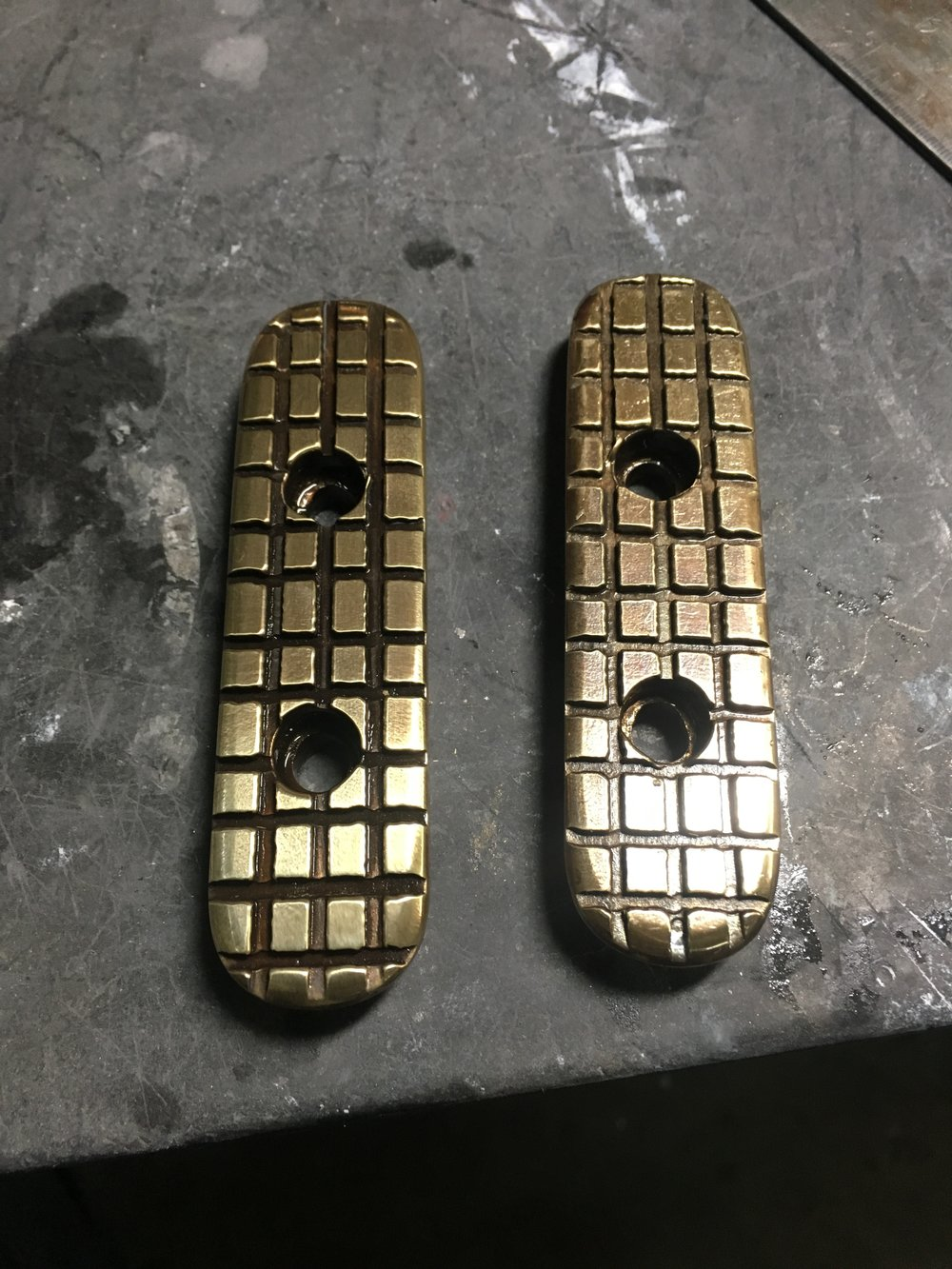 "The foot rests were milled to give a little tread. I think these are going to be called the ""peanut"" treads. The way brass grabs a thin mill bit made for some wandering on the lines, but I like the way it looks."