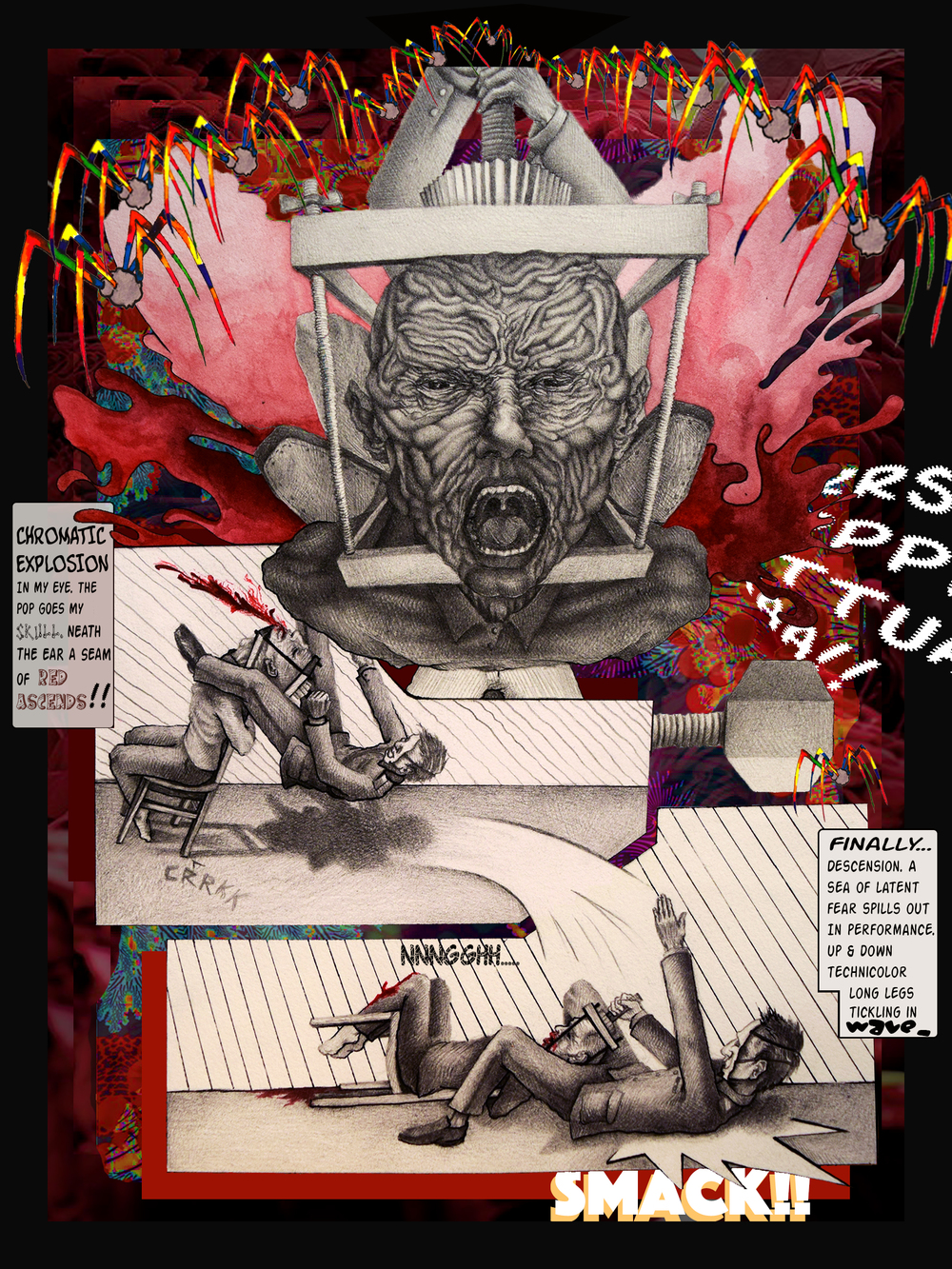 PAGE 5 OF TSARDOM COMIC BOOK. MIXED MEDIA, 2016.