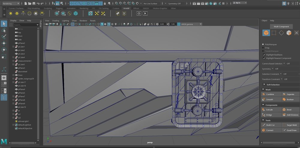 3D model of train engine door. Maya screen shot.