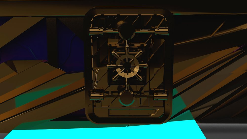 Textured 3D model of door to train engine. New brass texture.