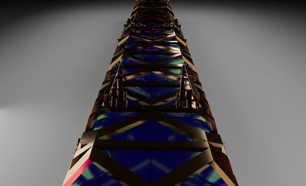 3D model of train from above. Illustrating the iridescent glass.