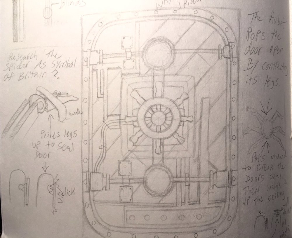 Design sketch for the door. It was inspired by both contemporary and old warship architecture.