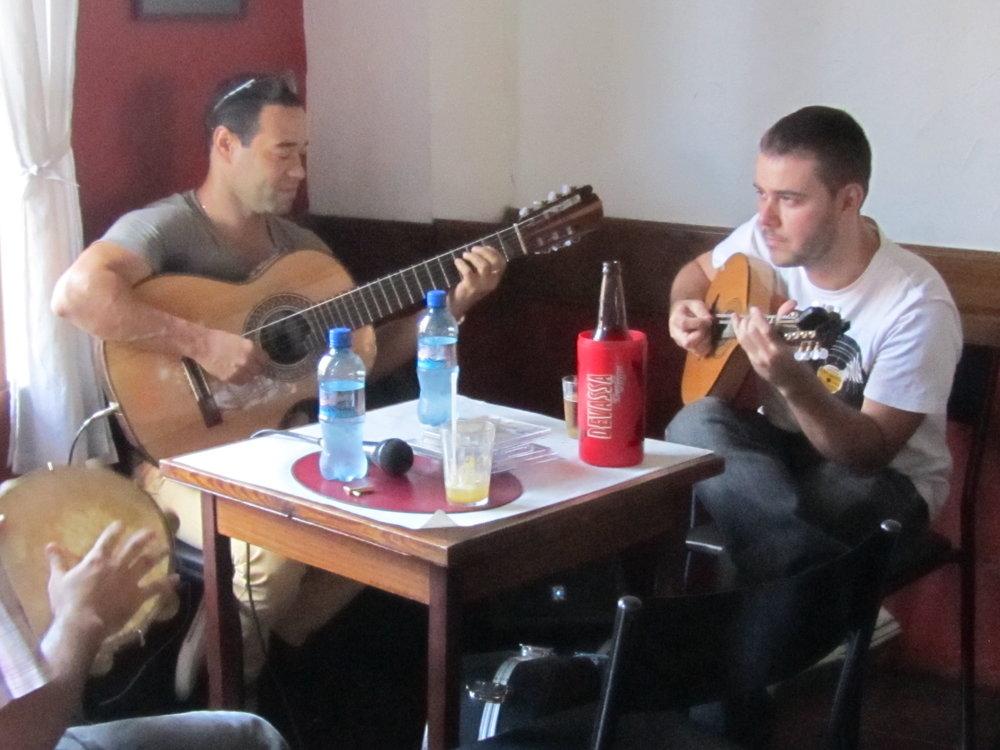 "Patrick Angelo performs with his ""Roda de Choro"" in a restaurant in Santa Teresa, Rio."