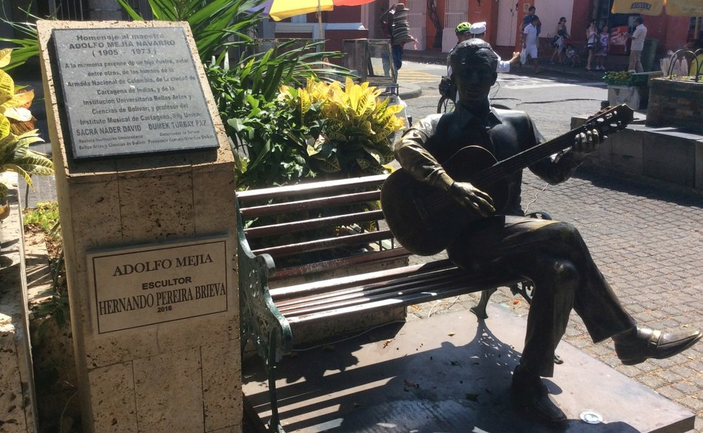 STATUE OF ADOLFO MEJIA NAVARRO IN CARTAGENA, COLOMBIA