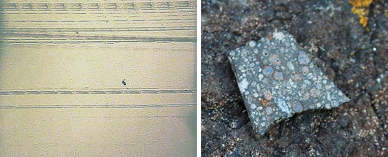 Film still and the meteorite fragment.