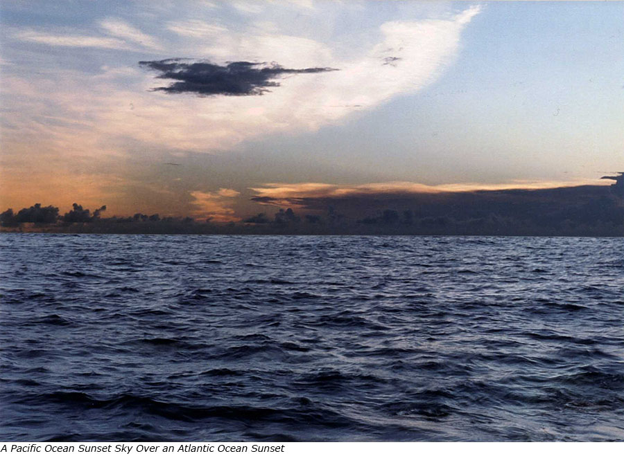 A Pacific Ocean Sunset Sky over an Atlantic Ocean Sunset with title.jpg