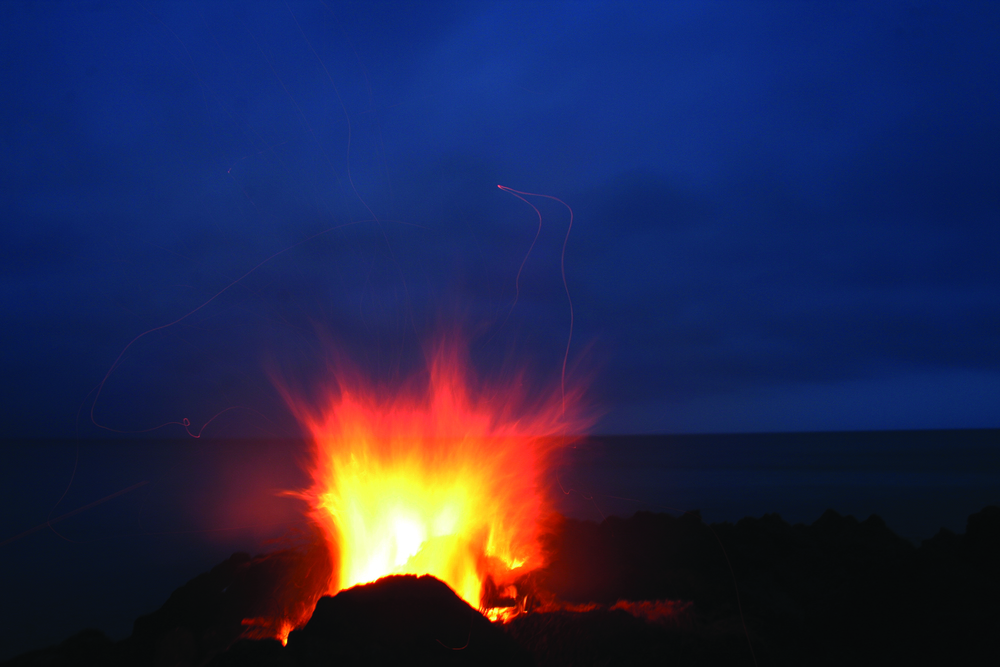 Lone Fire Spirit Over the Atlantic Ocean