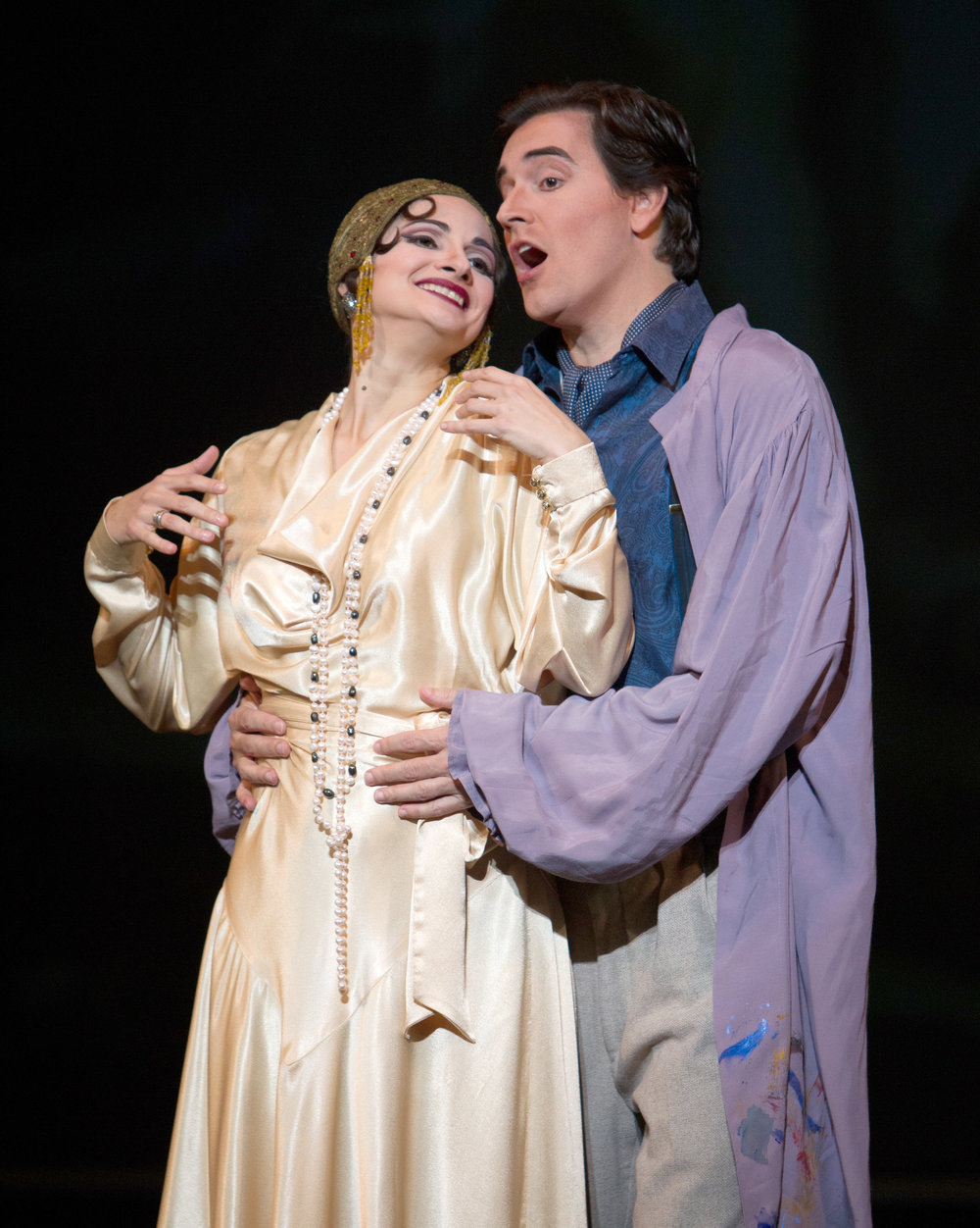 Patrick Miller and his wife, soprano Veronica Mitina, as Cavaradossi and Tosca, respectively, in Tosca with Syracuse Opera. Photo by Doug Wonders.