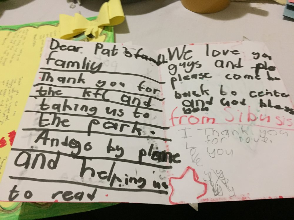 Thank-you notes from the kids.