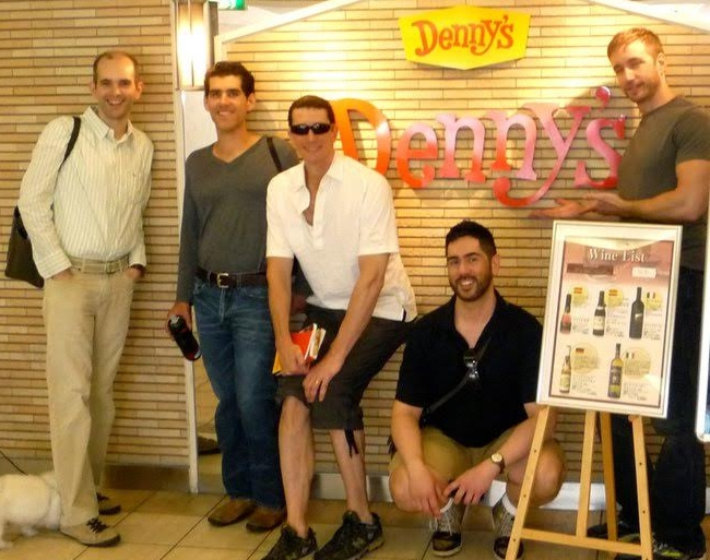 "This might not be a particularly exciting picture until you realize where it was taken! Dan's caption states: ""With some fellow Met Choristers the first morning in Japan – and we went to Denny's! It was close to the hotel, don't judge…"" (from 2011)"