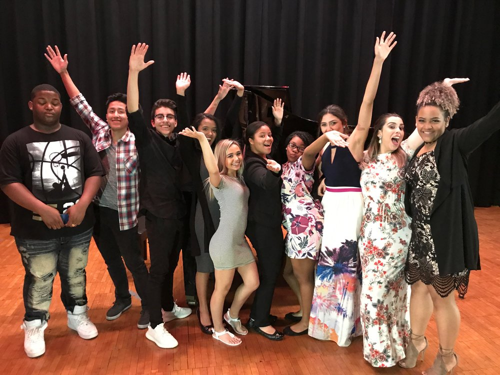 Some excited students of ArtSmart's East Side High School pilot program, after a performance.