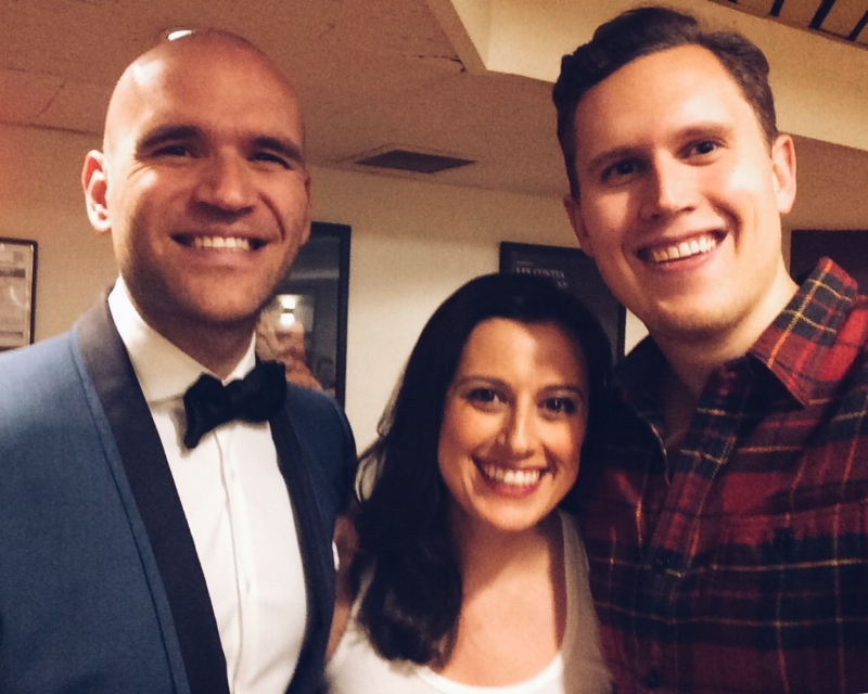 From left to right: Michael Fabiano, Megan Pachecano, and Tom Mulder. All of them work for ArtSmart, and all of them performed at the Metropolitan Opera 50th Anniversary Gala (where this picture was taken!).