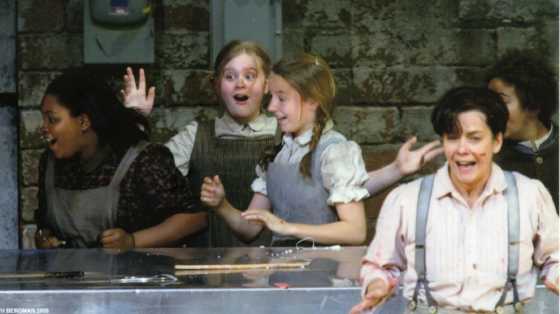 Melanie (in green jumper) in a production of Hansel & Gretel. (Photo: Beth Bergman)