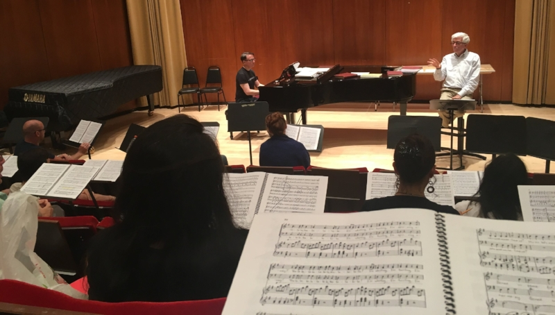 Chorusmaster Donald Palumbo rehearsing the chorus in List Hall. (Photo: Lianne Coble-Dispensa)
