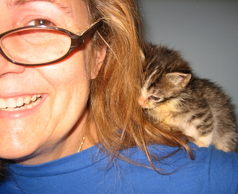 Laura Fries, with one of her tiny foster babies.