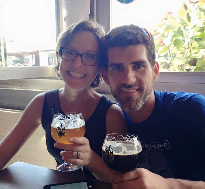 Lianne & her husband Scott drinking incredible beer in Switzerland.