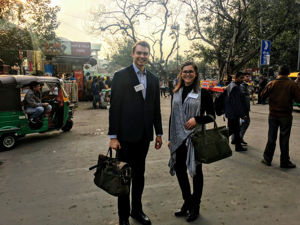 FNI's Paul Anderson-Trocmé (left) and Rebecca Peterniak (right) in New Delhi.